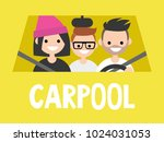 carpool. taxi service. driver... | Shutterstock .eps vector #1024031053