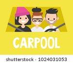 carpool. taxi service. driver... | Shutterstock .eps vector #1024031053
