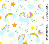 magic unicorns background.... | Shutterstock .eps vector #1024032553