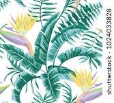exotic composition flowers bird ... | Shutterstock .eps vector #1024033828