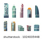 set of flat style buildings  ... | Shutterstock .eps vector #1024035448