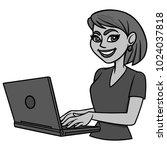 female blogger illustration   a ... | Shutterstock .eps vector #1024037818