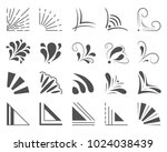 set of 20 hand drawn corners... | Shutterstock .eps vector #1024038439