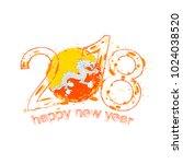 2018 happy new year bhutan... | Shutterstock . vector #1024038520