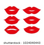 beautiful red lips icons... | Shutterstock .eps vector #1024040443