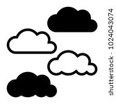 cloud line icon. vector set for ... | Shutterstock .eps vector #1024043074