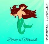 beautiful mermaid dancing... | Shutterstock .eps vector #1024046314