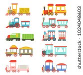 toy trains set  colorful... | Shutterstock .eps vector #1024048603