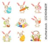 cute cartoon bunnies holding... | Shutterstock .eps vector #1024048609