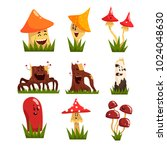 funny mushrooms characters with ... | Shutterstock .eps vector #1024048630