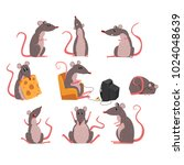 cute grey mouse set  funny... | Shutterstock .eps vector #1024048639