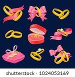 wedding and engagement golden...   Shutterstock .eps vector #1024053169