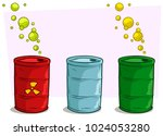 cartoon coloful metal barrel... | Shutterstock .eps vector #1024053280