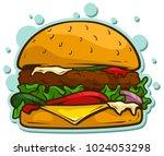 cartoon tasty big hamburger...   Shutterstock .eps vector #1024053298