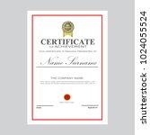 certificate template modern a4... | Shutterstock .eps vector #1024055524