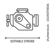 car engine linear icon. thin... | Shutterstock .eps vector #1024055836