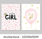vector set of pink baby shower...
