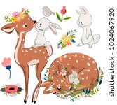 Stock vector set with cute deer and hares 1024067920