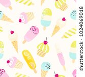 cute seamless pattern with ice... | Shutterstock .eps vector #1024069018