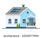 small house with solar panels... | Shutterstock .eps vector #1024077904