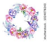 wreath of flowers and birds | Shutterstock . vector #1024078243