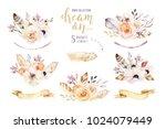 hand drawn watercolor tribal... | Shutterstock . vector #1024079449