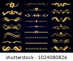 Collection of vector gold vintage decorative elements for page decoration