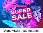 tropical super sale banne. palm ... | Shutterstock .eps vector #1024082380