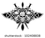 the vector image skull in an...