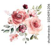 decorative watercolor flowers.... | Shutterstock . vector #1024091206