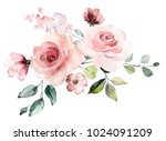 Stock photo decorative watercolor flowers floral illustration leaf and buds botanic composition for wedding 1024091209