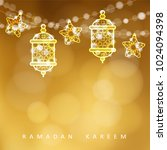 islamic greeting card. garlands ... | Shutterstock .eps vector #1024094398
