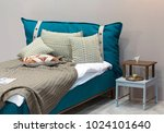 blue linen bedroom contemporary ... | Shutterstock . vector #1024101640