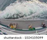 ocean water splashes  top view... | Shutterstock . vector #1024105099