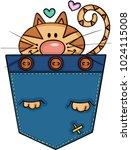 cute cat in the pocket  | Shutterstock .eps vector #1024115008
