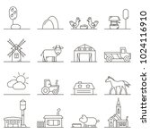 vector icons of town ... | Shutterstock .eps vector #1024116910