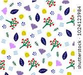 floral spring pattern with...   Shutterstock .eps vector #1024123984