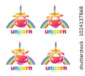 funny unicorn face set graphic... | Shutterstock .eps vector #1024137868