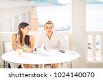 attractive couple having first... | Shutterstock . vector #1024140070