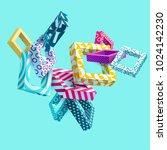 3d multicolored decorative... | Shutterstock .eps vector #1024142230