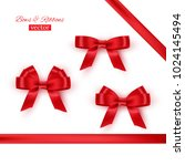 red bows and ribbons. vector... | Shutterstock .eps vector #1024145494