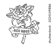 tattoo rose with ribbon. symbol ... | Shutterstock .eps vector #1024149886