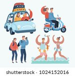 vector cartoon funny... | Shutterstock .eps vector #1024152016