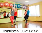 happy fitness workout. sports... | Shutterstock . vector #1024154554