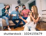 group of friends playing... | Shutterstock . vector #1024155679
