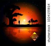 vector illustration of a sunset ... | Shutterstock .eps vector #1024155814