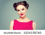 pin up woman portrait.... | Shutterstock . vector #1024158760