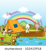 Stock vector illustration of animals camping and fishing 102415918