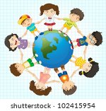 illustration of kids around the ... | Shutterstock .eps vector #102415954