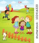 illustration of kids playing in ... | Shutterstock .eps vector #102416320